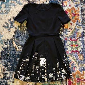 NYC skyline Black Skater Dress Elia Tahari Size 6